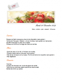 Mardi 24 decembre . Reveillon de Noel  2019 -  MENU :  ENTREE + PLAT + DESSERT  :  59 EUROS